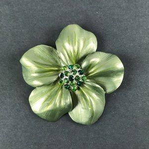 Green rhinestone flower pin brooch pendant